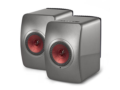 KEF LS50 Wireless in titangrau/rot - Aktiv-Monitor & Netzwerk Player